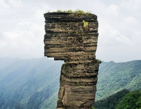 The mushroom shaped rock a billion year old unique geological slate stone pillar and icon of Fanjing mountain in Guizhou China