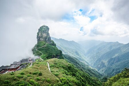 Panorama of Fanjingshan new gold summit and valley view in Fanjing mountain in Guizhou China