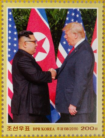 North Korea stamp celebrating the 2018 Singapore summit meeting between Donald J. Trump and Kim Jong-un with picture of the handshake