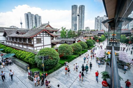 Chengdu China, 3 August 2019 : Top view of Sino-Ocean Taikoo Li and Daci temple in Chengdu Sichuan China