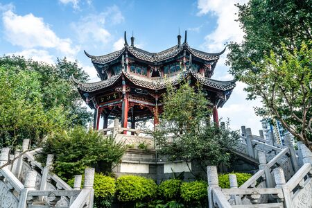 View of the Hejiang Pavilion symbol of love on daytime in Chengdu Sichuan China (translation: Hejiang Pavilion)
