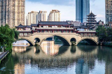 View of Anshun bridge on daytime in Chengdu Sichuan China Reklamní fotografie