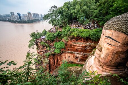 Wide angle top view of Leshan Giant Buddha or Dafo in Leshan Sichuan China