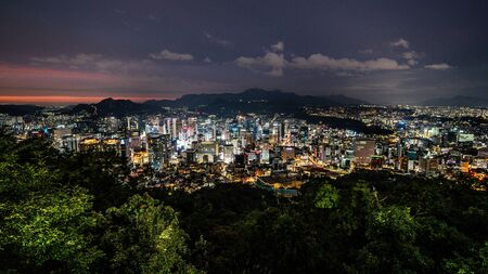 Seoul city wide angle nightscape from Namsan park in Seoul South Korea Stok Fotoğraf