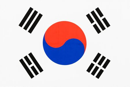 Picture of a fabric flag of South Korea aka Taegukgi full frame with the Taegeuk and trigrams Stok Fotoğraf
