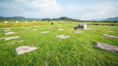 Hwangnyongsa Temple site landscape view with remaining stones of the ruins of the Buddhist temple in Gyeongju South Korea Banque d'images