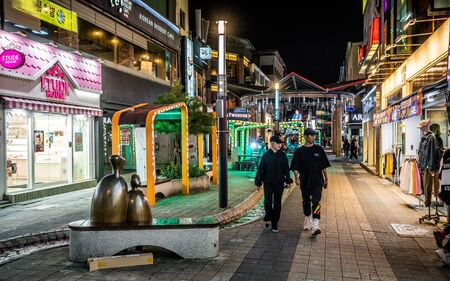 Andong Korea , 27 September 2019 : Andong culture shopping street at night with Asian people in Andong South Korea