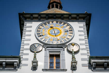 Close-up view of the astronomical clock tower of Sion city hall in Valais Switzerland
