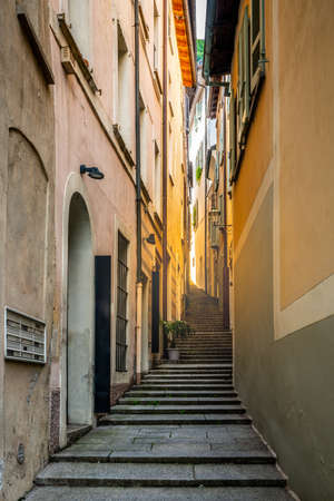 Morcote village stairway alley called Strecia di Mort street vertical view in the charming Morcote Ticino Switzerland