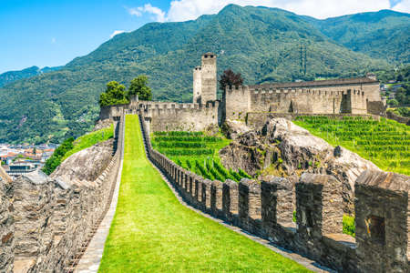 Scenic panorama of Castelgrande castle in Bellinzona Ticino Switzerland 新闻类图片