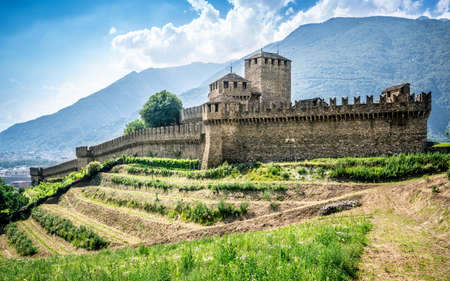 Side view of Montebello castle building and wall in Bellinzona Ticino Switzerland