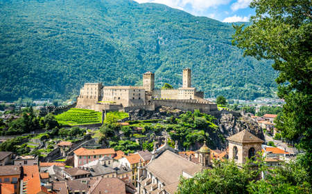 Aerial view of Castelgrande castle in Bellinzona Ticino Switzerland