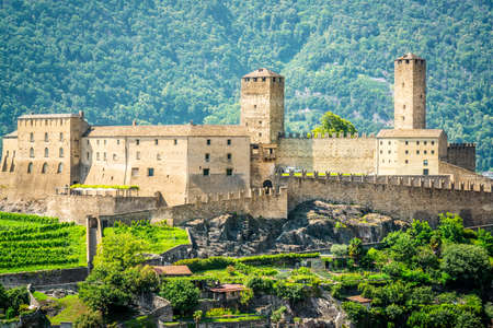 Close-up view of Castelgrande castle in Bellinzona Ticino Switzerland