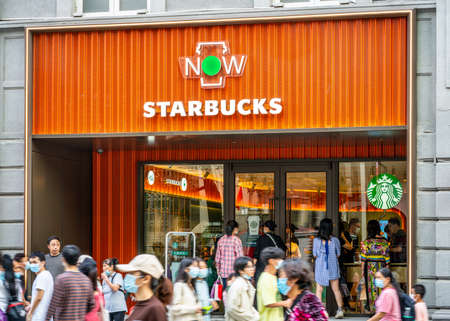 Wuhan China, October 1, 2020: Exterior view of Starbucks NOW coffee the new express retail format of the franchise in Wuhan China