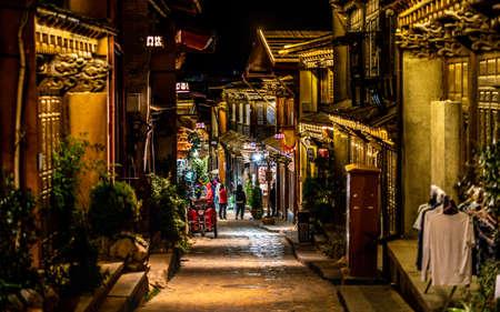 Alley view of Dukezong Tibetan old town at night in Shangri-La Yunnan China