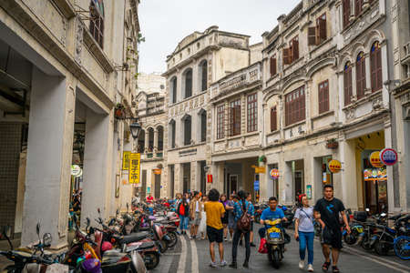 Haikou China, 21 March 2021: Water-alley street view with old colonial buildings including the Haikou Shophouse exhibition hall in Haikou old town Hainan China Editoriali