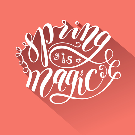 postcard: Spring greeting postcard brush lettering Stock Photo