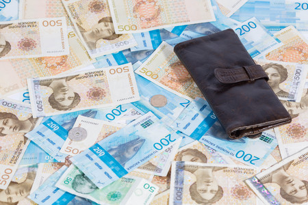 Krone Banknotes. Norwegian Krone Currency and wallet Stock Photo