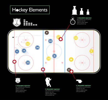 Hockey stadion op de top. Hockey elementen. Geïllustreerd hockey gebied.