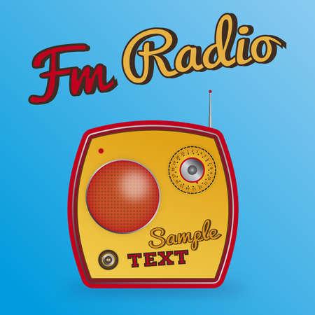 Geïllustreerd geel radio.