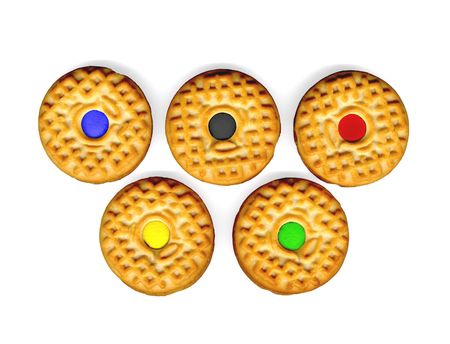 mimic: five cookies on white background mimic sports competition rings