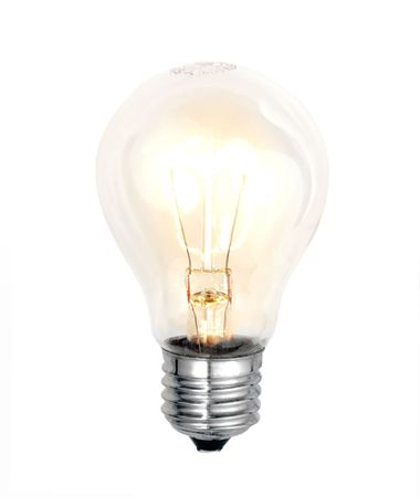 electric bulb lightened isolated on white background photo