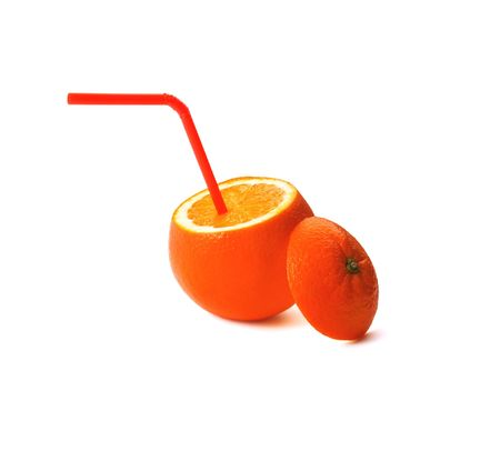 fresh ripe orange cutted on top with straw on white background Stock Photo - 2727512