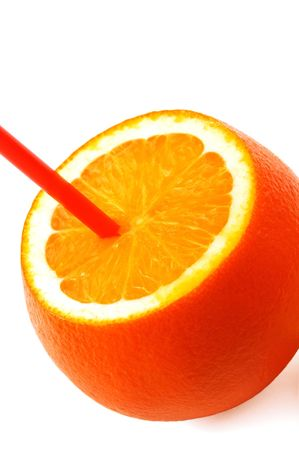 fresh ripe orange cutted on top with straw on white background Stock Photo - 2727518