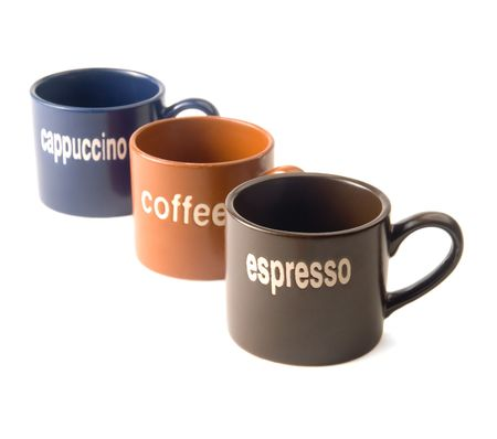 coffee,espresso,cappuccino cups isolated on white background  photo