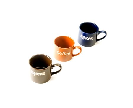 coffee espresso cappuccino cups isolated on white background photo