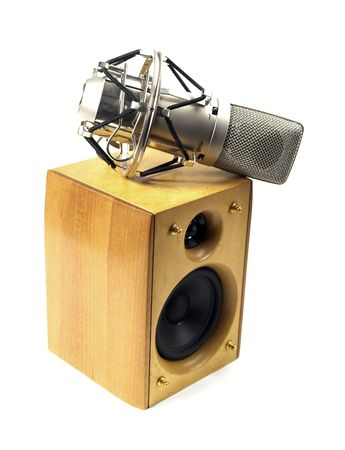 speaker and microphone on white background