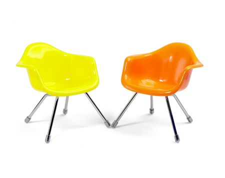 coulored plastic chairs isolated on white background Stock Photo - 3186040