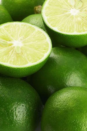 bounch of vivid green fresh lime view from close up