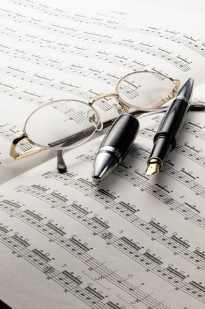 music charts with glasses and pen on top Stock Photo - 3515589