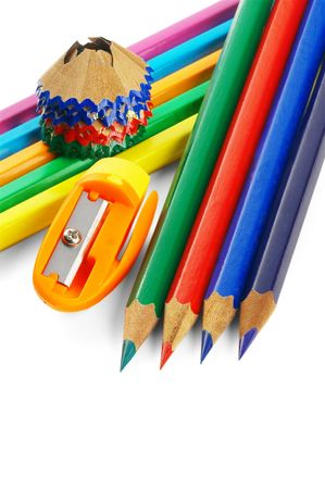 sharpened coulor pencils isolated over white background Stock Photo - 3553326
