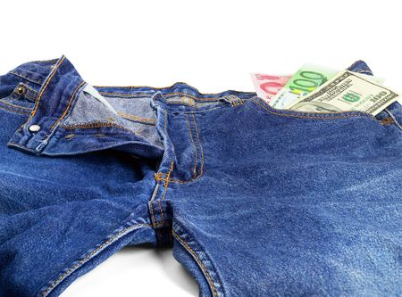 casua: money bills on pocket of a pair of blue jeans