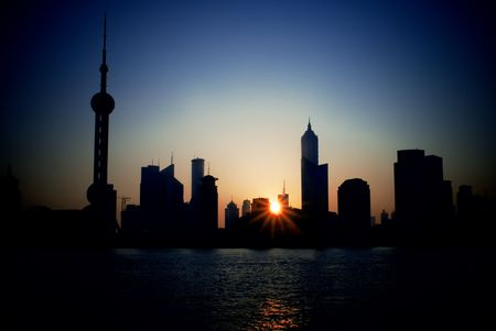 china shanghai pudong skyline at summer sunrise Stock Photo