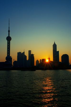 china shanghai pudong skyline at summer sunrise Stock Photo