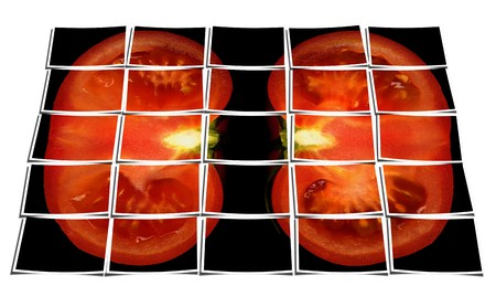 digitally generated: tomato on black background puzzle collage cut out composition over white