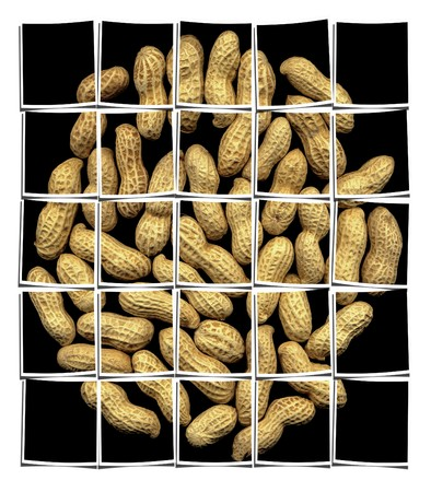 patched: peanuts on black background collage composition of multiple images over white