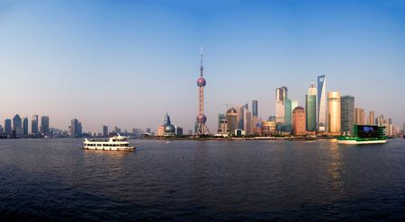 shanghai pudong finacial district panoramic view