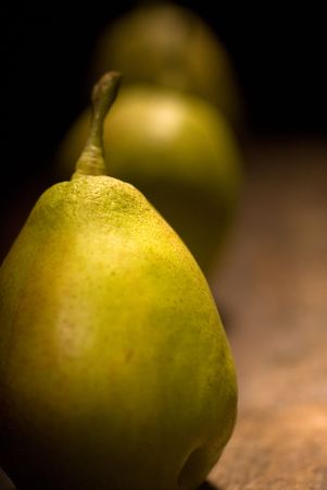 autumn fresh pears over old wood board  Stock Photo - 5941045