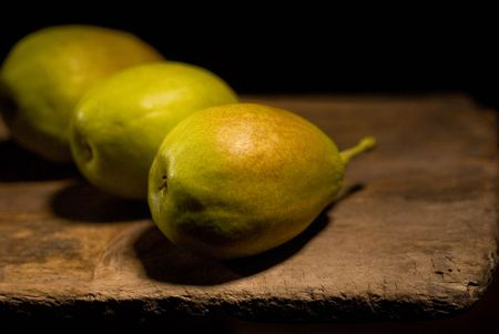 autumn fresh pears over old wood board Stock Photo - 5941048