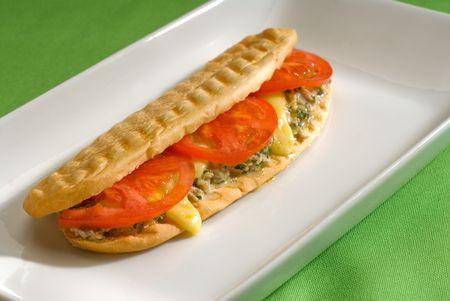 Thunfisch Tomaten und Käse gegrillte Panini Sandwich close up auf einem Teller
