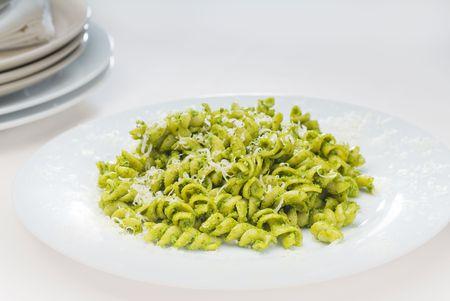 italian fusilli pasta and fresh homemade  pesto sauce Stock Photo - 6355247