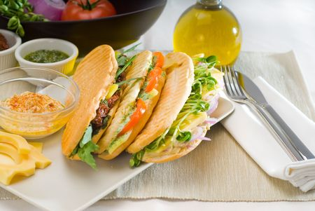 assortment of fresh homemade vegetarian  italian panini sandwich,typical italian snack