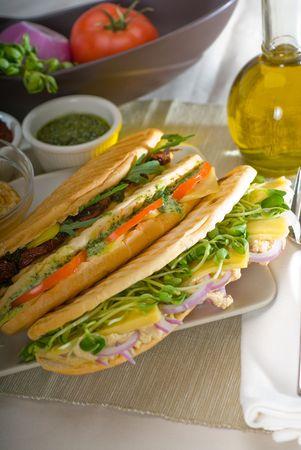 arugola: assortment of fresh homemade vegetarian  italian panini sandwich,typical italian snack