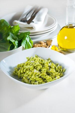 italian fusilli pasta and fresh homemade  pesto sauce Stock Photo - 7258413