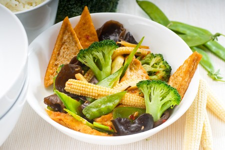 fresh and healthy tofu,beancurd with mix vegetables typical chinese dish 스톡 사진