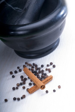 black stone mortar and pestel with cinnamon and pepper Stock Photo - 7649512